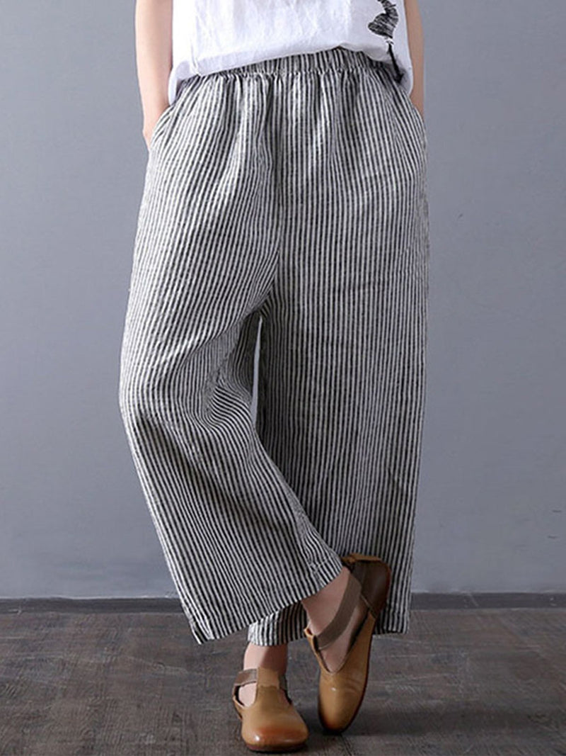 Pin Stripe Linen Shift Crop-Length Pants