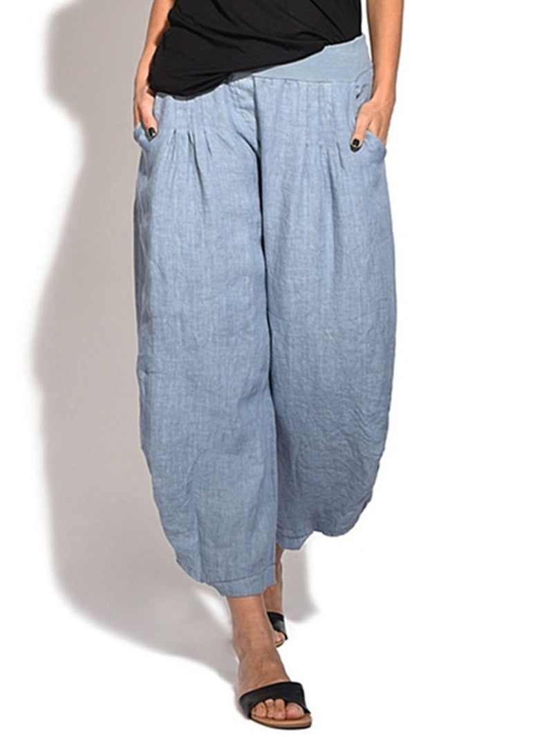 Pocket Loose Linen/Cotton Buttoned Hem Crop-Length Pants