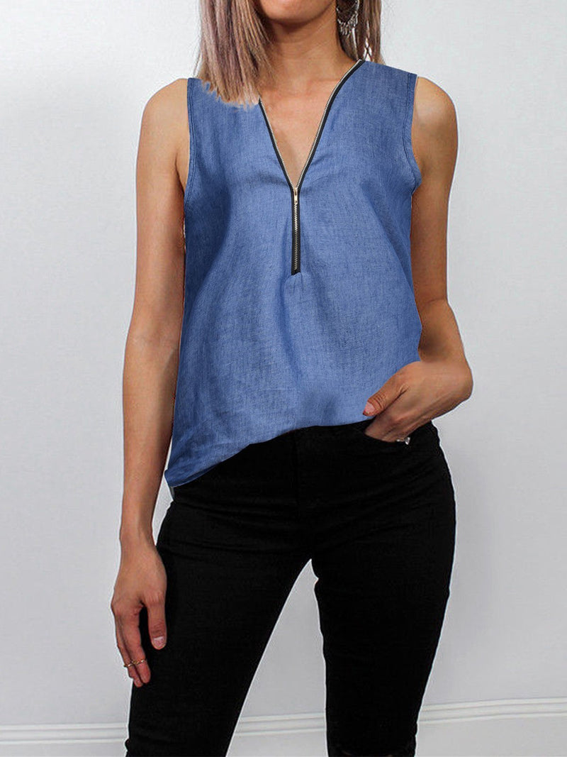 Denim Sleeveless V Neck Zipped Tank Top