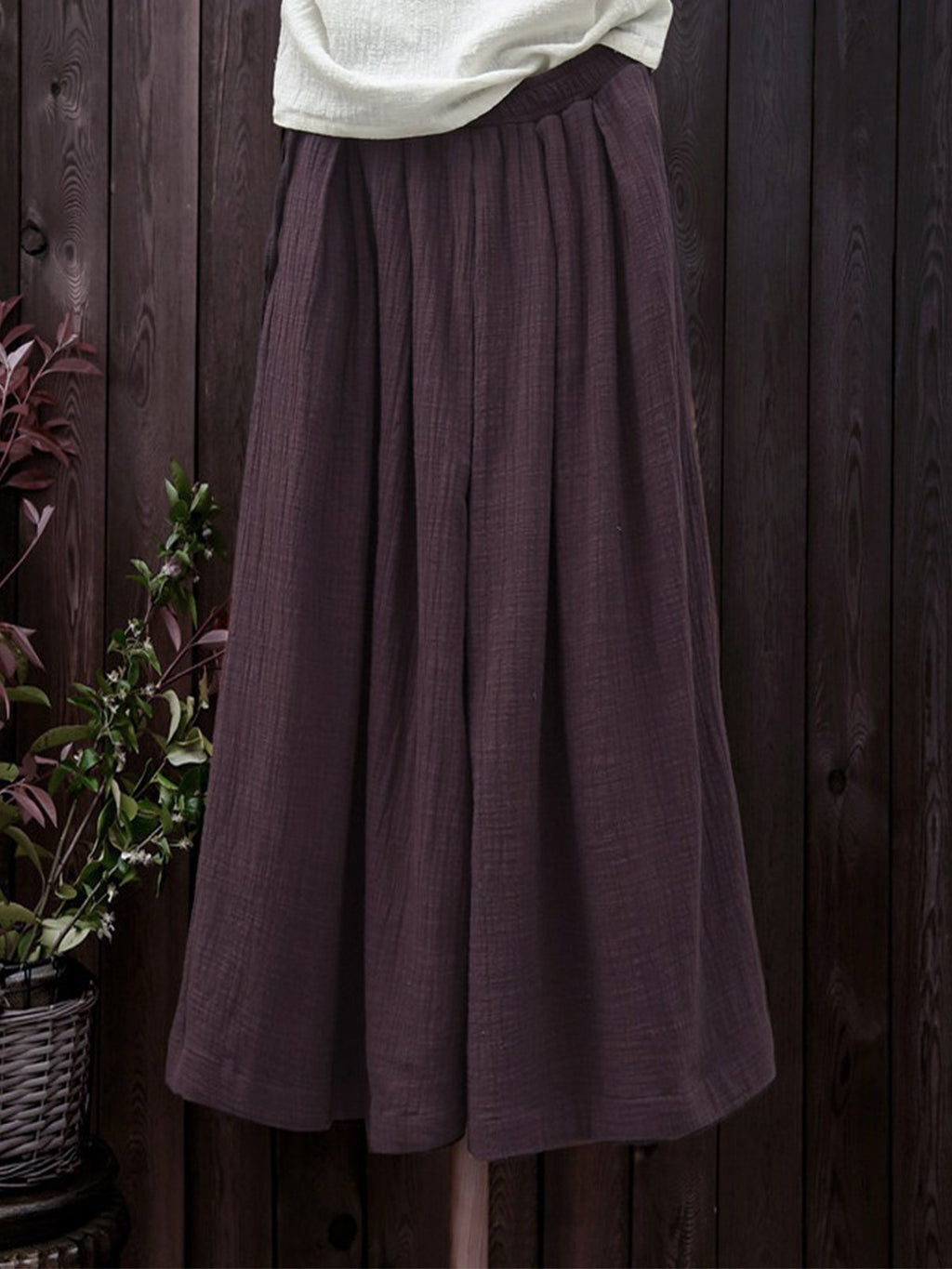Linen/Cotton Plus Size Casual Solid Light-Weight Wide-Legged Pants