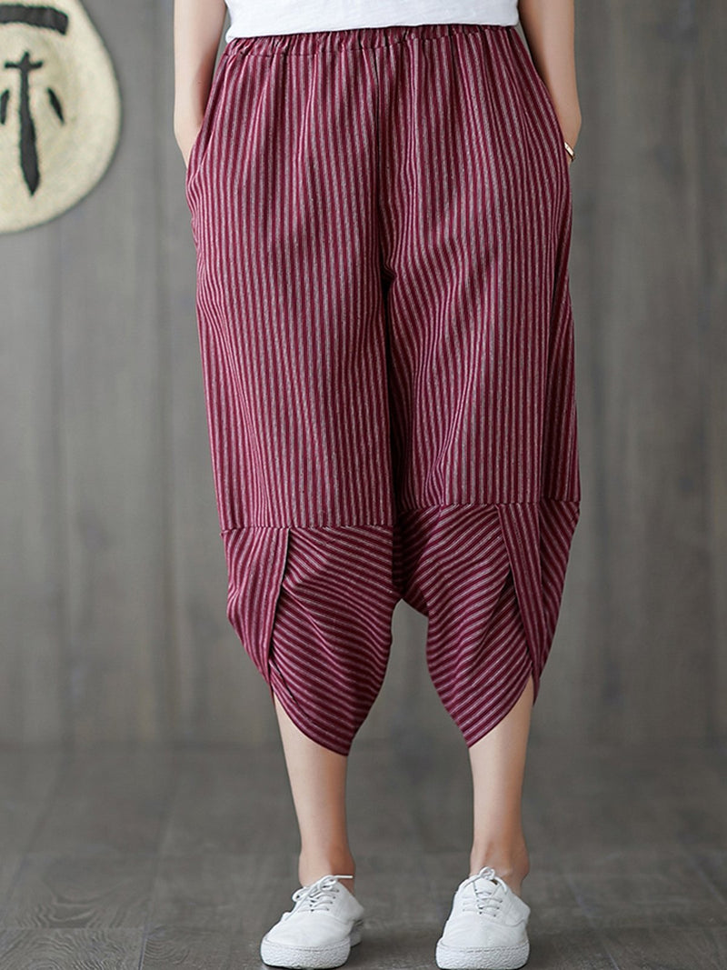 Stripe Loose Capri Haren Pants
