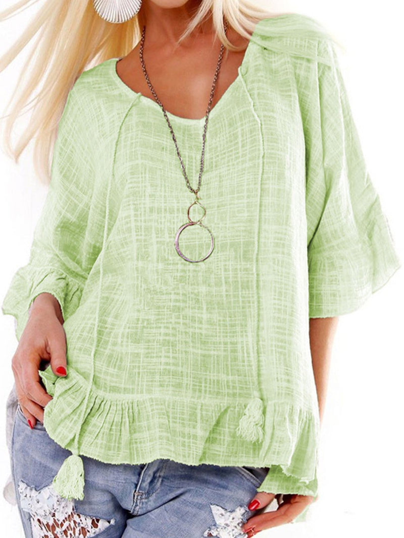 Loose Ruffle Half Sleeve Tassle Women Blouse