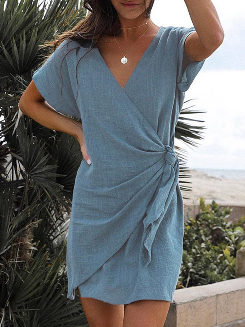 Summer Sexy V Neck Wrap Asymmetric Women Mini Dress