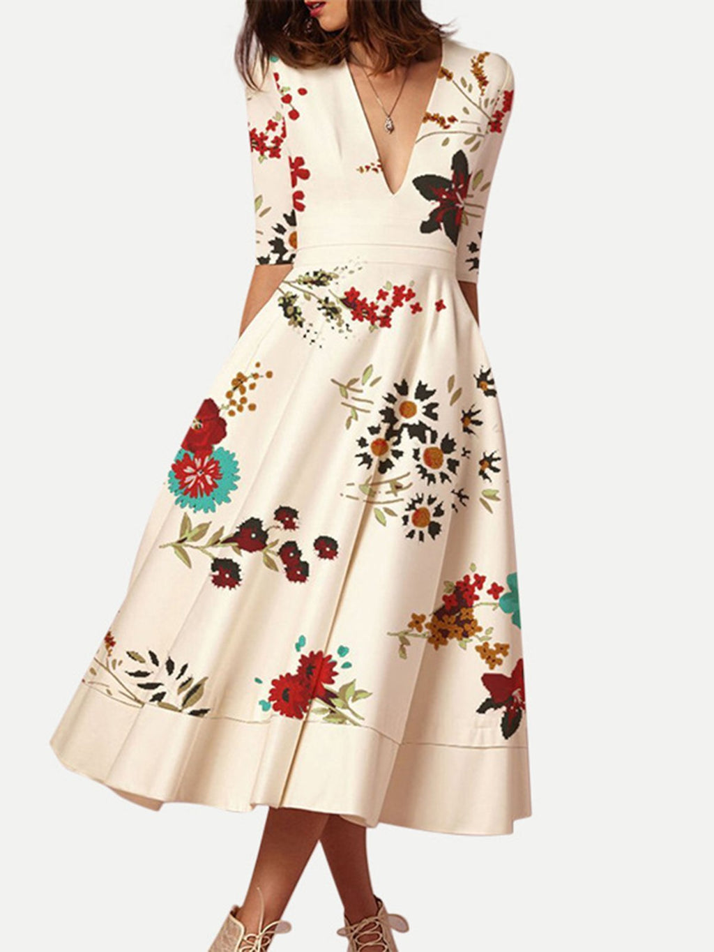 Elegant Floral Printed Party Midi Vintage Dress
