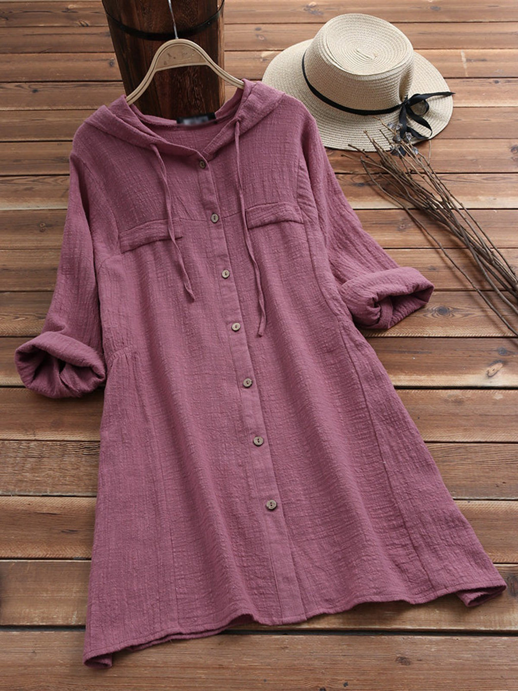 Long Sleeve Pocket Hoodie Shift Midi Dresses