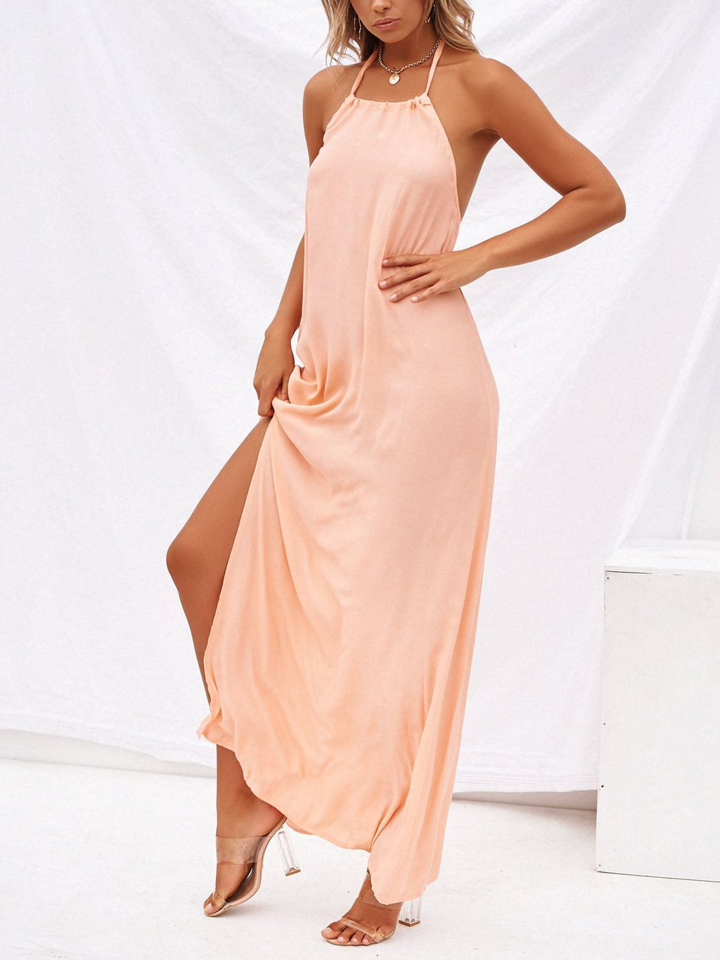 Pink Backless Cotton-Blend Solid Sleeveless Split Boho Dresses