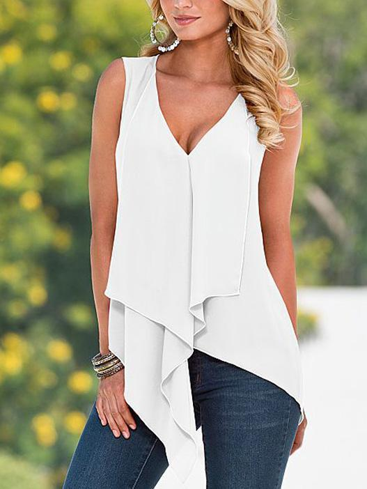 Asymmetric Casual Sleeveless Tank Tops