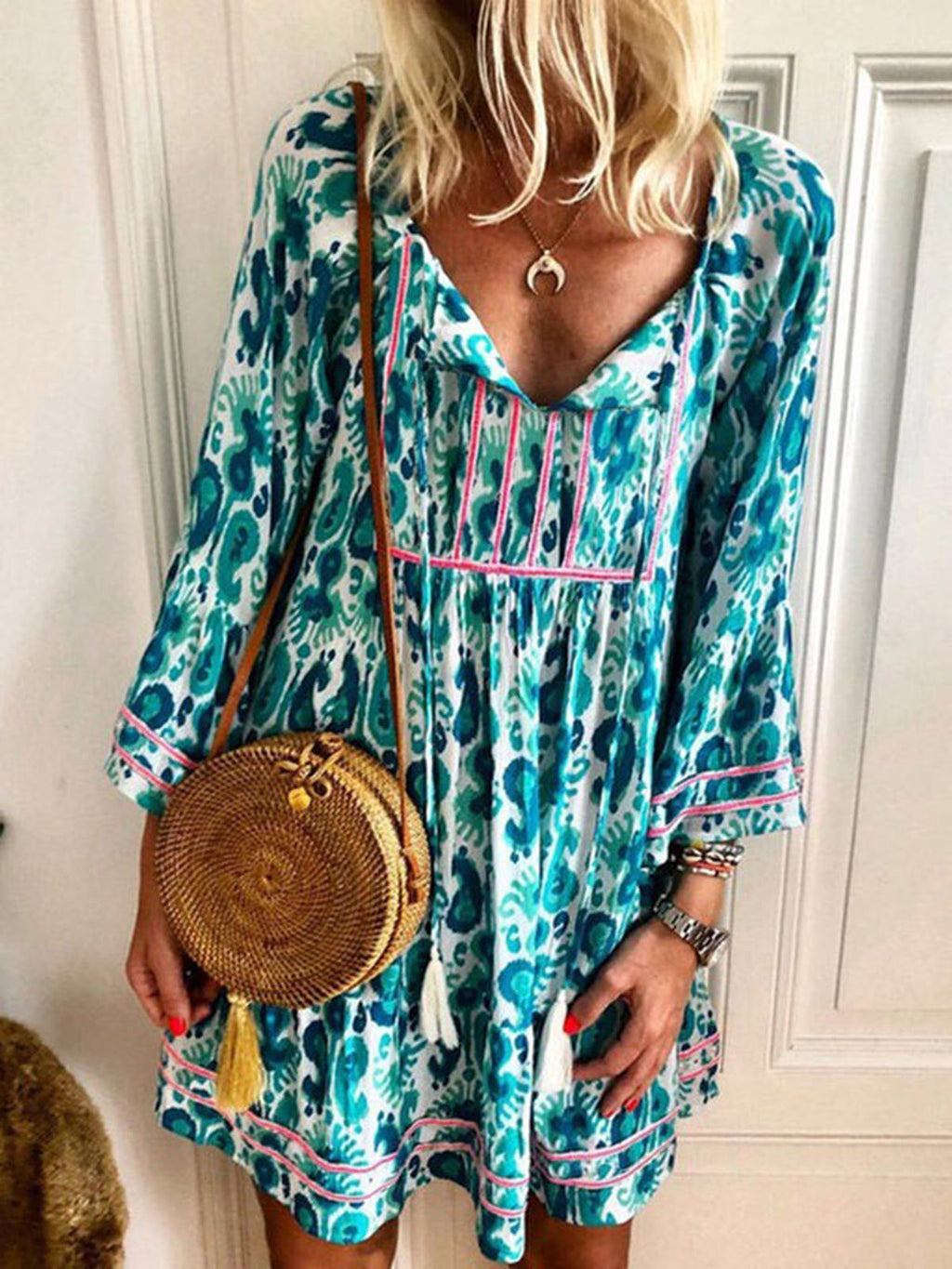 Blue Printed Boho Casual Long Sleeve Cotton Shift Dresses