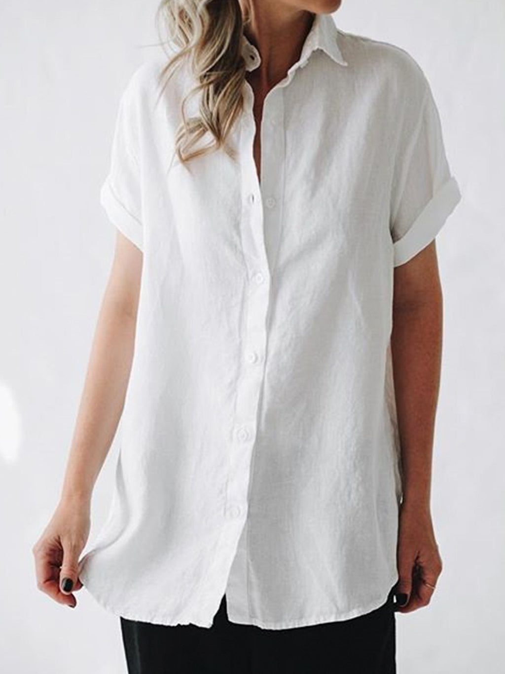 Women Short Sleeves Casual Linen Shirt