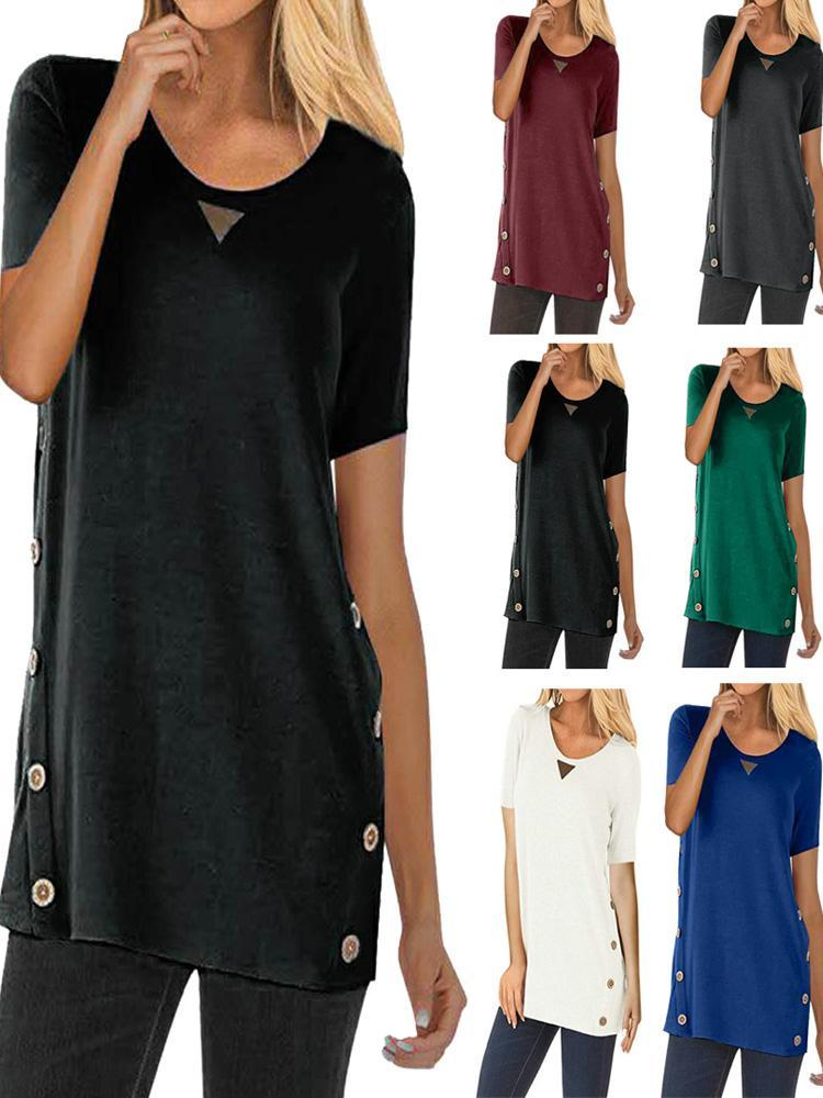Solid Color Buttoned Short-Sleeved T-Shirts