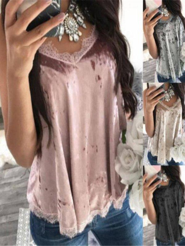 Solid Velvet Lace Sling Tanks