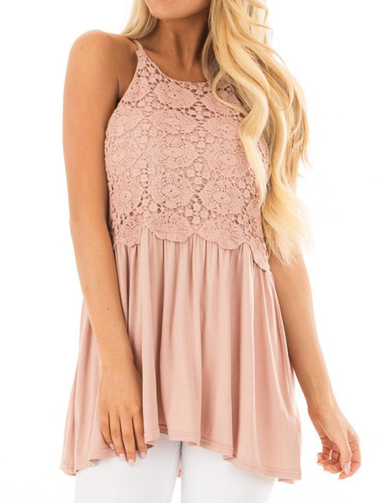 Sweet Lace Casual Solid Color Asymmetric Hem Tanks