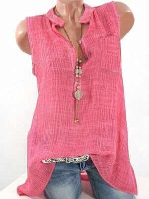 Fuchsia Basic Solid Stand Collar Pockets Tanks