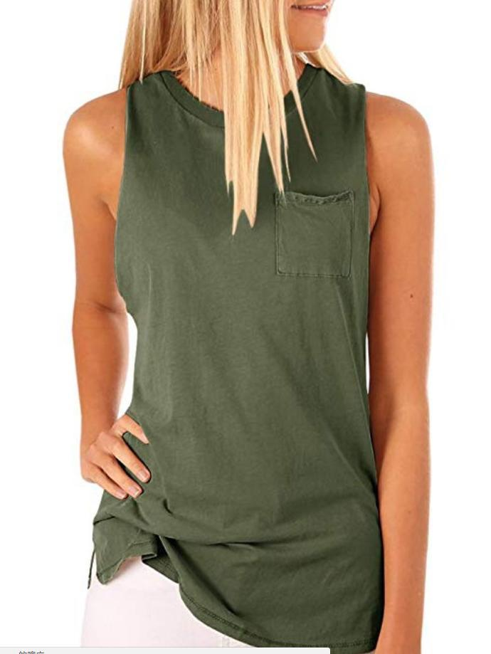 Solid Color Pocket Crew Neck Sexy Sleeveless Tanks