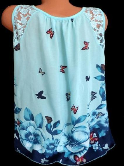 Round Neck Lace Shoulder Butterfly Print Sleeveless Loose Tank