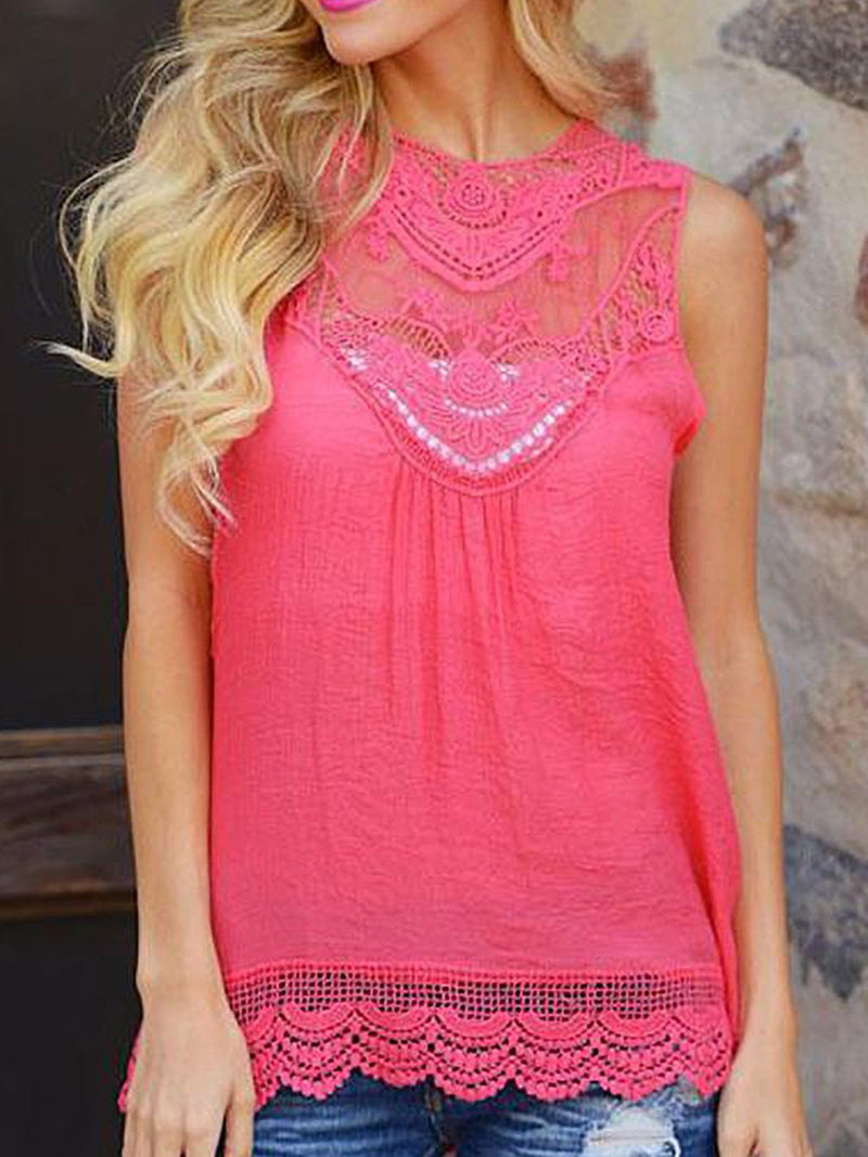 Sleeveless Round Neck Lace Hem Hollow Shoulder Tank