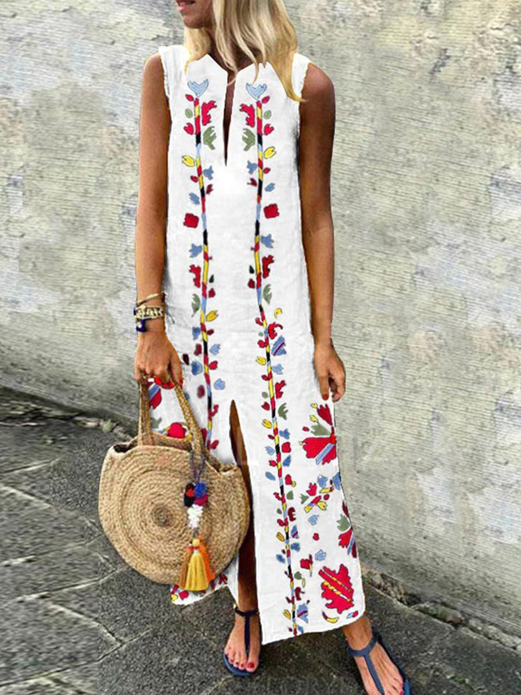 Sleeveless Sheath Floral Slit Maxi Dresses