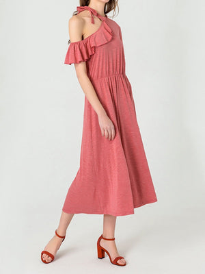 Red Short Sleeve Flounce Shoulder Cotton Blend Dresses