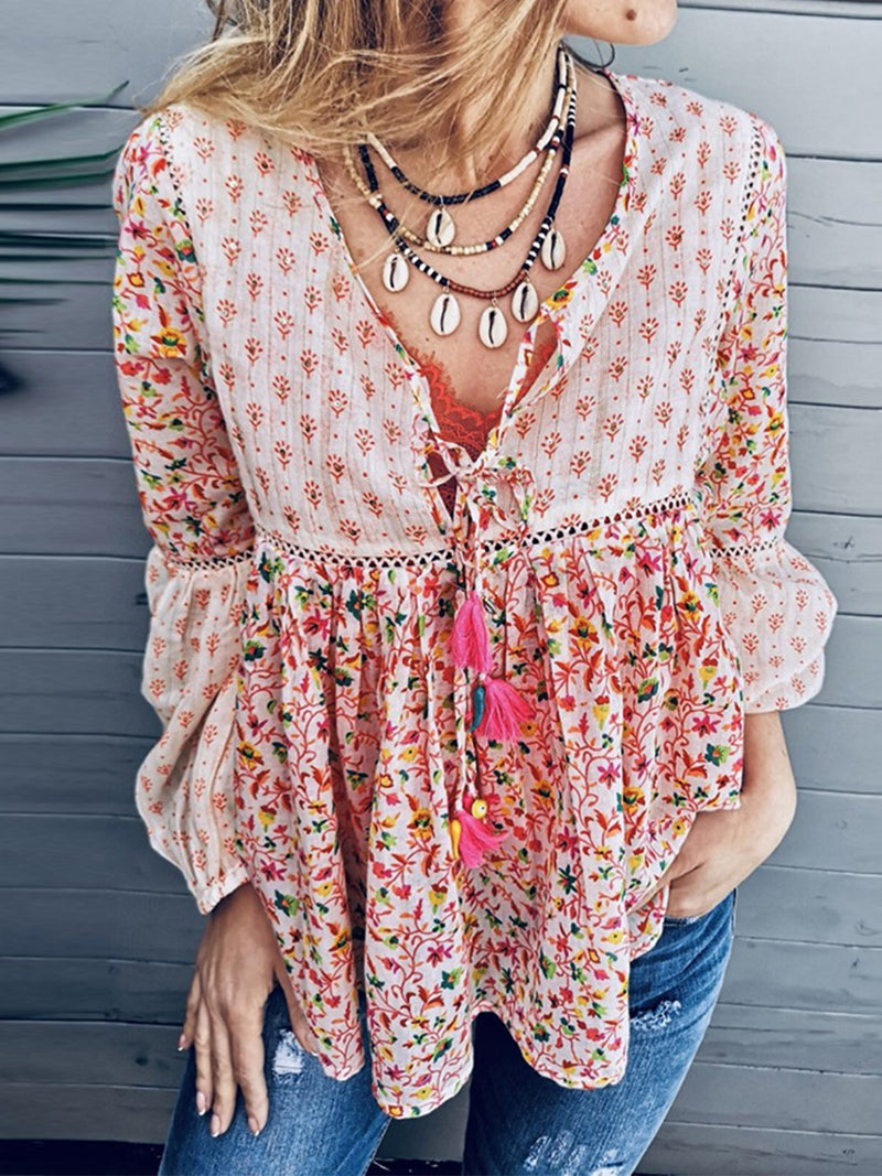 Tassle Design Long Sleeve Folk Boho Style Print Floral Shirt