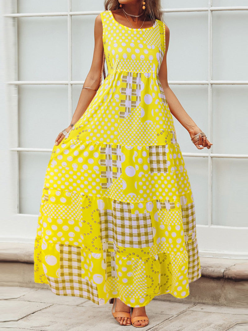 Sleeveless Round Neck Vintage Dot Print Checkered Summer Maxi Dress