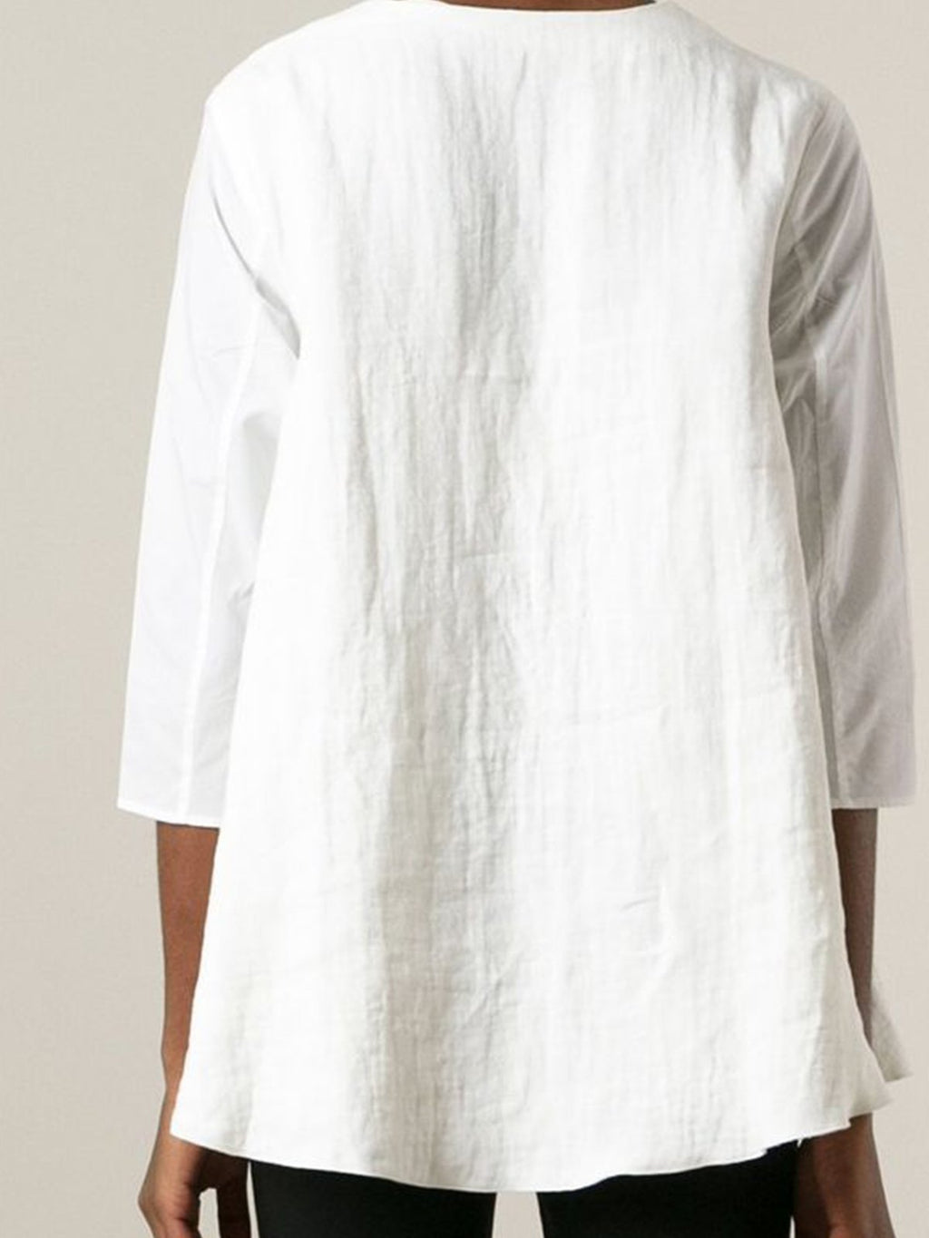 V Neck Solid Simple 3/4 Sleeve A-Line Linen Shirt