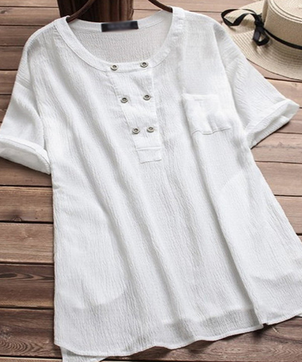 Short Sleeve Double Breast Casual Linen Plus Size Blouses
