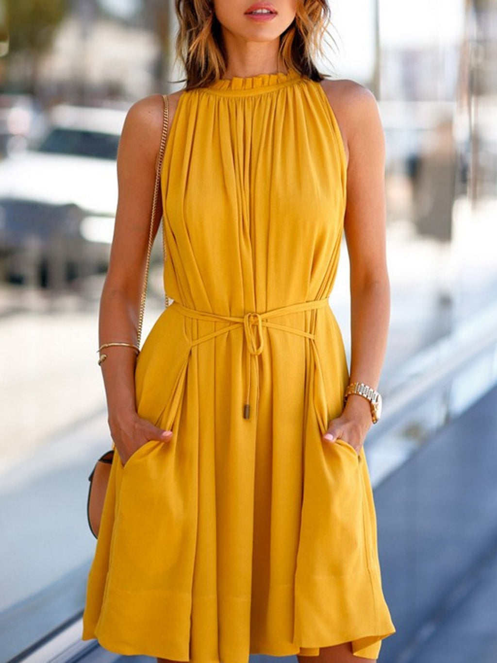 Yellow Solid Pleat Semi-High Collar Holiday A-Line Dress