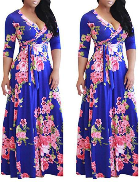Casual For Women 3/4 Sleeve Boho Floral A-Line Long Dress