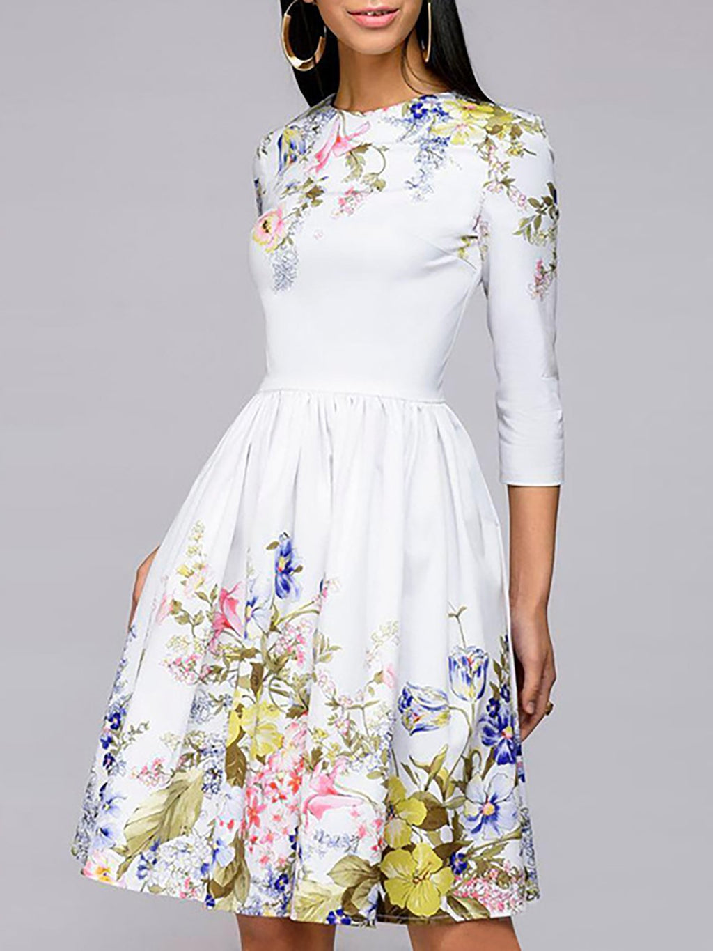 Prom Dresses Floral 3/4 Sleeve Holiday Elegant Midi Dress