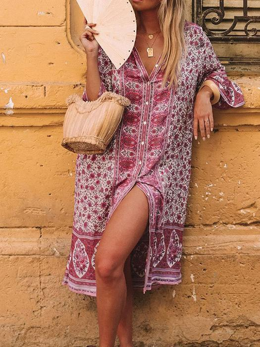 Summer Bohemian Style V Neck Flare Sleeve Sexy Printed Dress