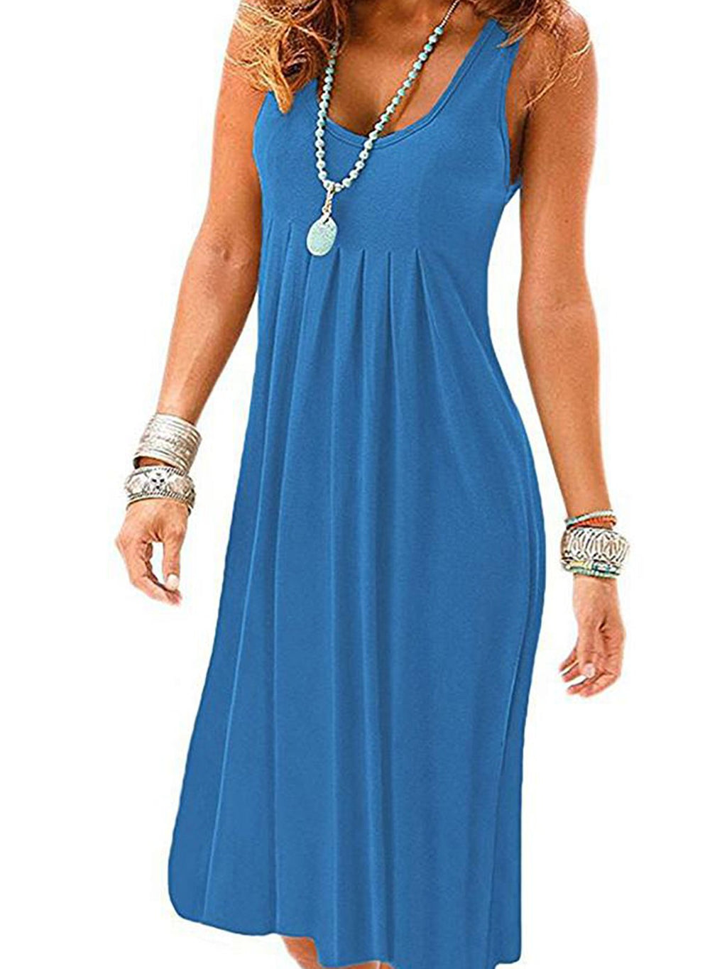 Round Neck Women Summer Dresses Shift Beach Cotton-Blend Dress