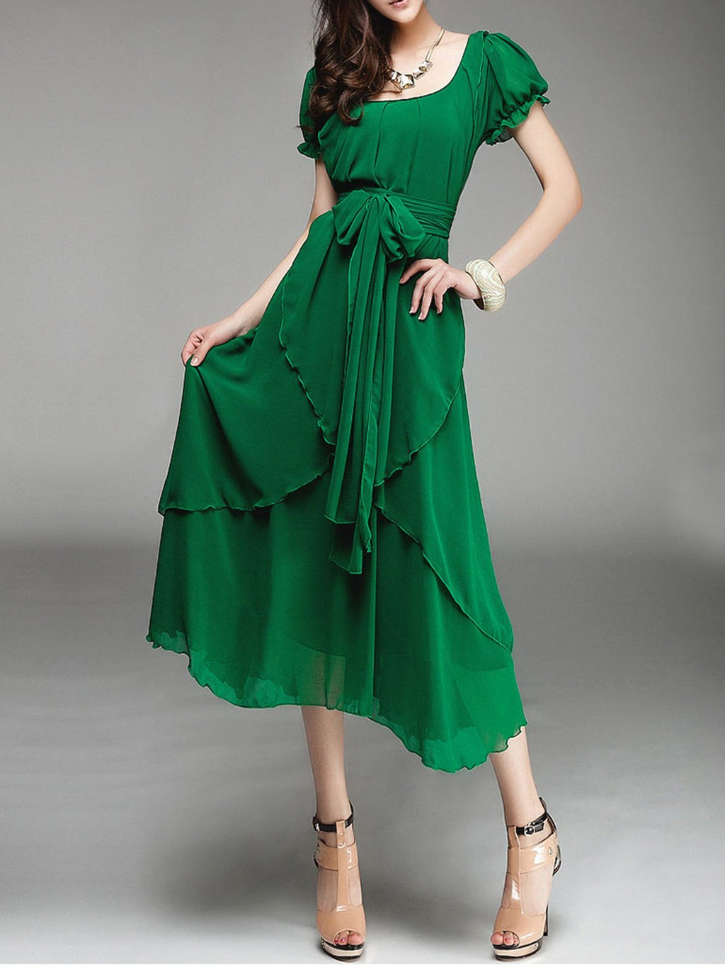 Green Asymmetric Chiffon Resort Holiday Belted Dress