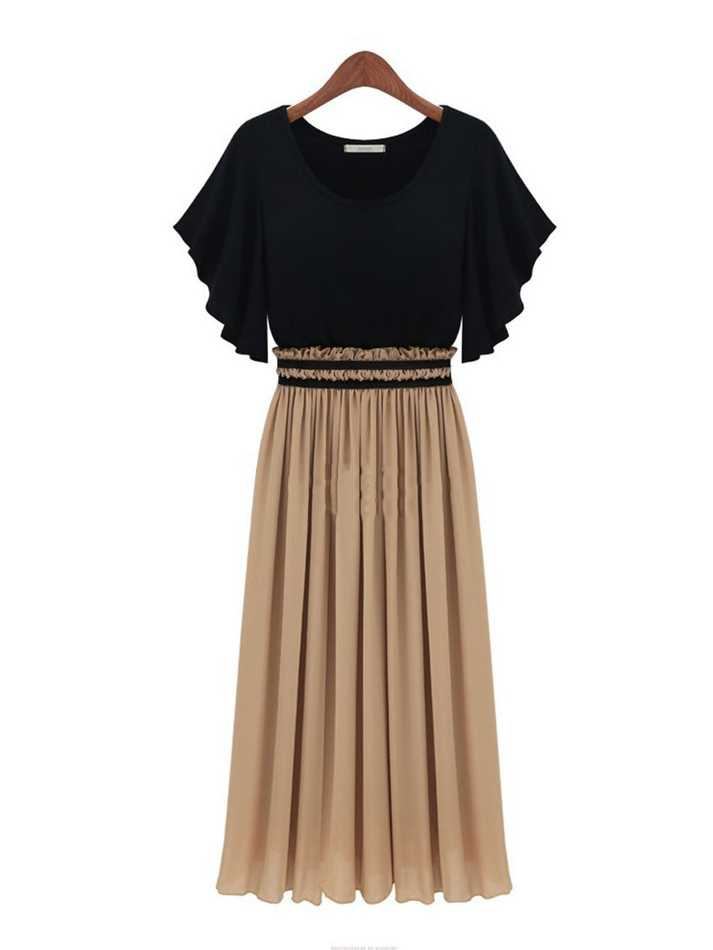 Pleated Skirt Ruffle Waist Round Neck Falre Flounce Sleeve Chiffon Dress