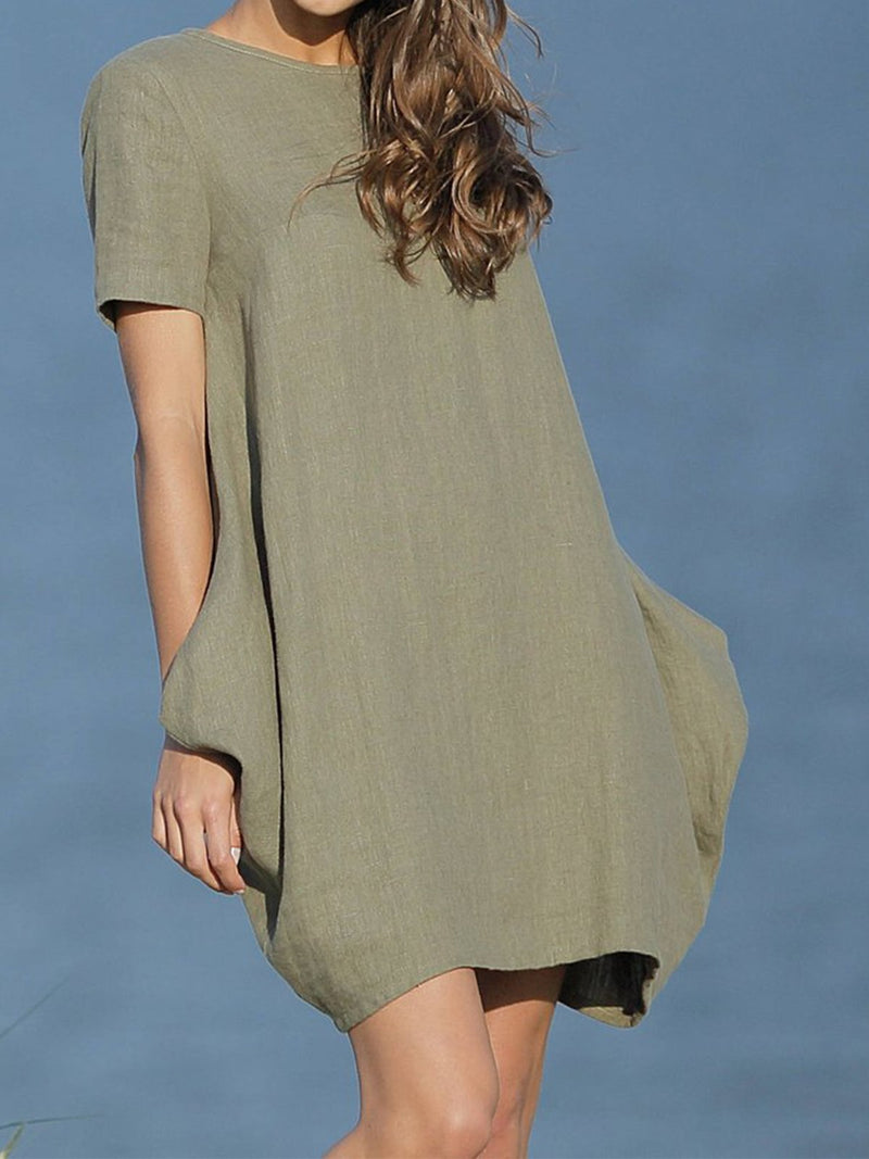 Armygreen Solid Cocoon Short Sleeve Linen/Cotton Dress