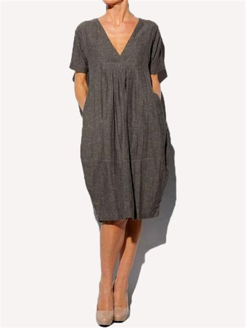 Solid Color Shirring V Neck Pocket Cocoon Midi Dress