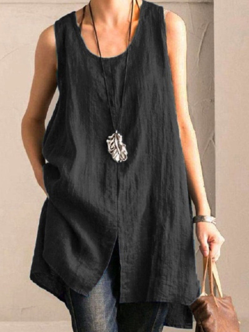 Solid U Neck Sleeveless Slit Extra-Long Tank