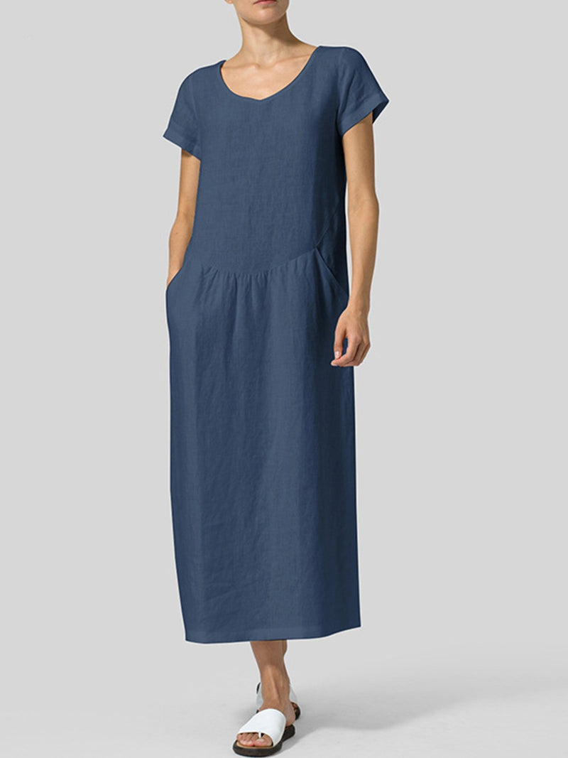 Solid Cotton-Blend Round Neck Short-Sleeved Paneled Long Dress