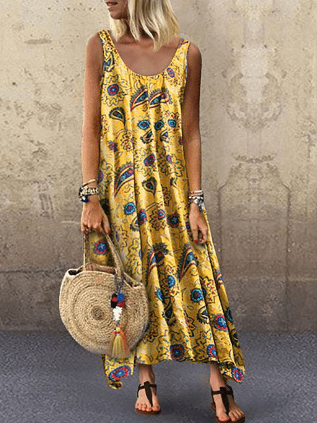 Abstract Pattern Print Sleeveless Round Neck Long Dress