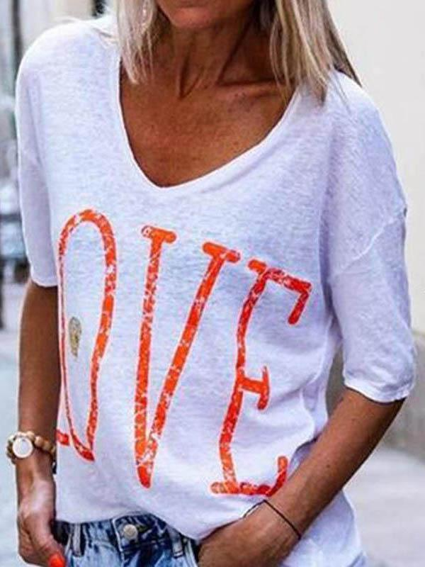 Love Letter Print Loose Short Sleeve T-Shirt