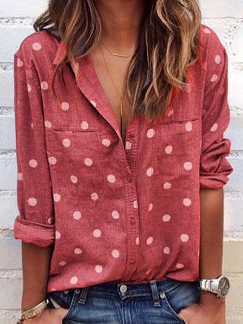 Polka Dot Pocket Slit Button-Down Long-Sleeved Shirt
