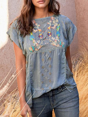 Floral Embroidery Short Sleeve Paneled Blouse