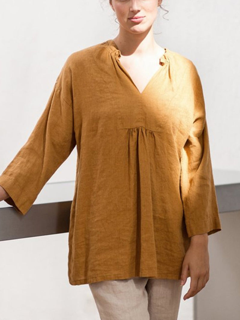Linen/Cotton Solid Crop Sleeve Gathering Blouse