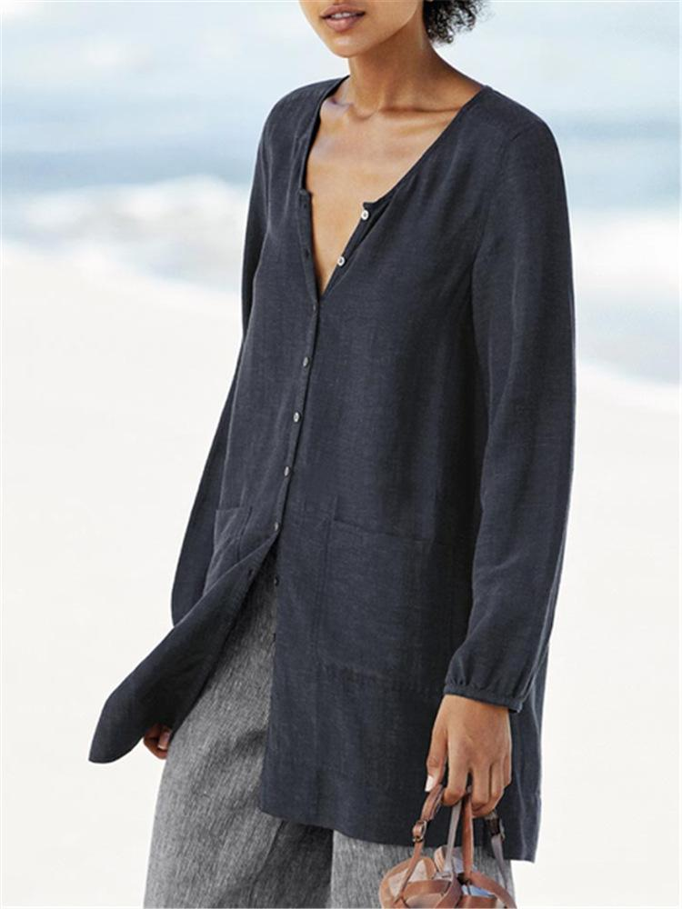 Buttoned V Neck Patch-Pocket Linen/Cotton Extra-Long Shirt