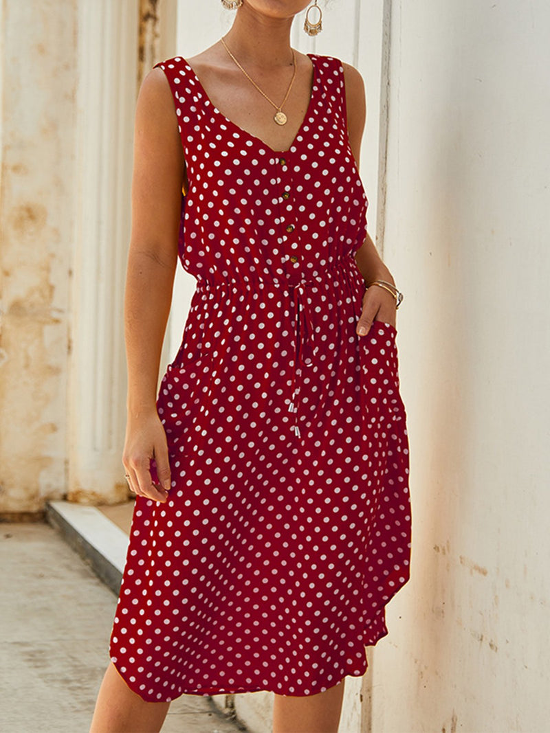 Polka Dot V Neck Button-Placket Pocket Sleeveless Knee-Length Dress