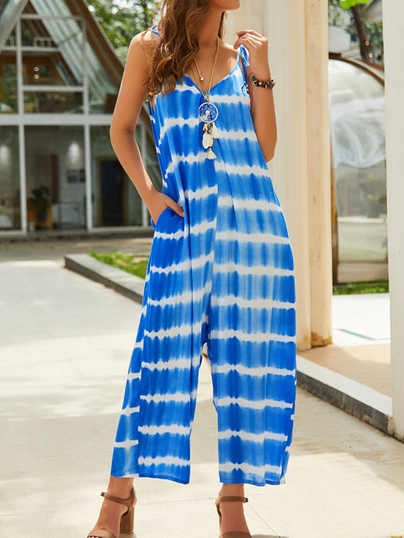 Summer Blue/White Print V Neck Tied Brace Loose Jumpsuits