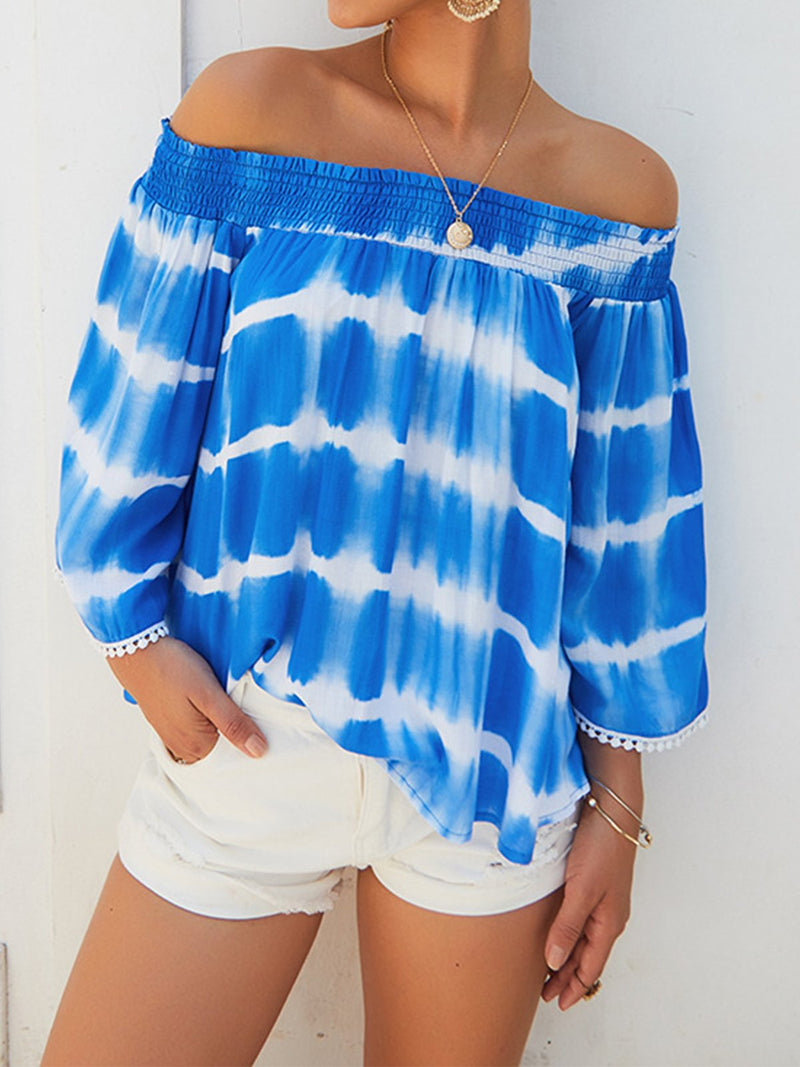 Elastic Offshoulder Crop-Sleeved Loose Blouse