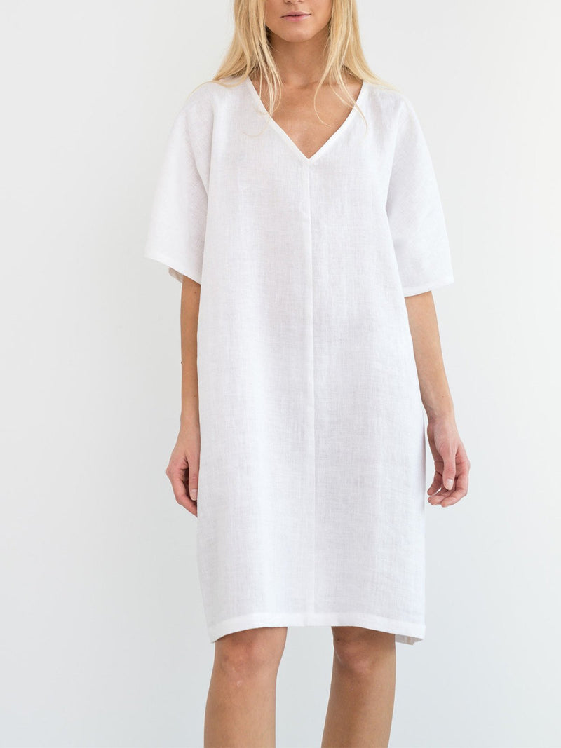 Summer V Neck Simple Solid Loose Shify Dress