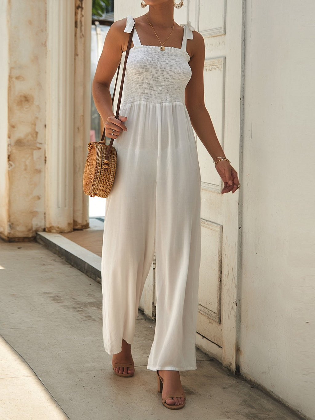 Summer Bowknot Braces Summer Wide-Legged Jumpsuits