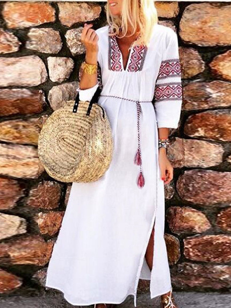 White Printed Chest&Sleeve V Neck Long-Sleeved Tassel Maxi Dress