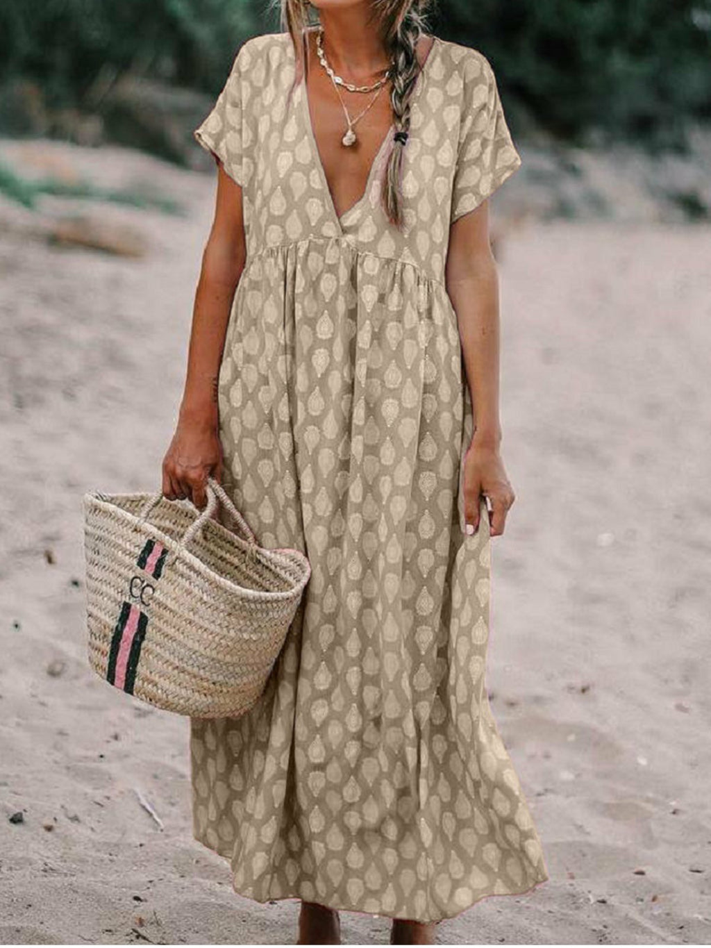 Printed Plung V Neck Short Sleeve Plus Size Maxi Dress